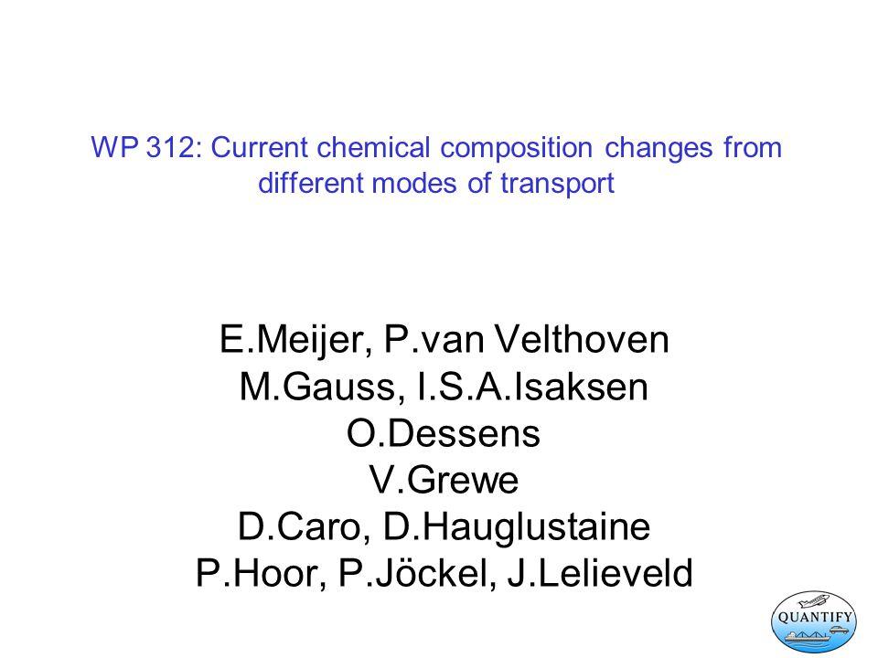 WP 312: Current chemical composition changes from different modes of transport E.Meijer, P.van Velthoven M.Gauss, I.S.A.Isaksen O.Dessens V.Grewe D.Caro, D.Hauglustaine P.Hoor, P.Jöckel, J.Lelieveld