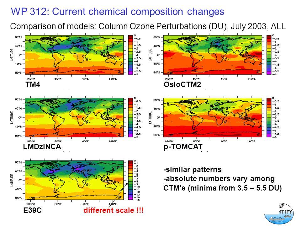 WP 312: Current chemical composition changes Comparison of models: Column Ozone Perturbations (DU), July 2003, ALL TM4 OsloCTM2 LMDzINCAp-TOMCAT E39Cdifferent scale !!.