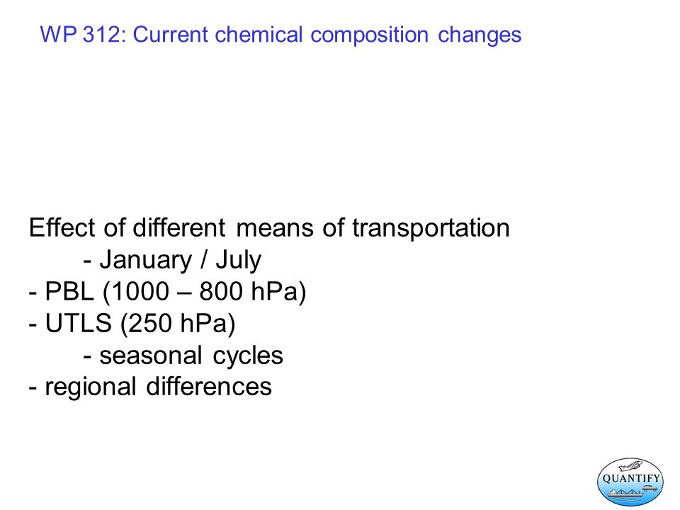 WP 312: Current chemical composition changes Effect of different means of transportation - January / July - PBL (1000 – 800 hPa) - UTLS (250 hPa) - se