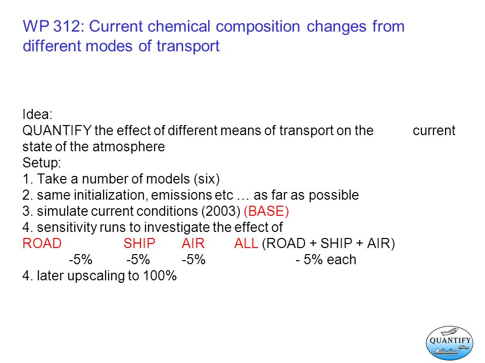 WP 312: Current chemical composition changes Effect of different means of transportation - January / July - PBL (1000 – 800 hPa) - UTLS (250 hPa) - seasonal cycles - regional differences