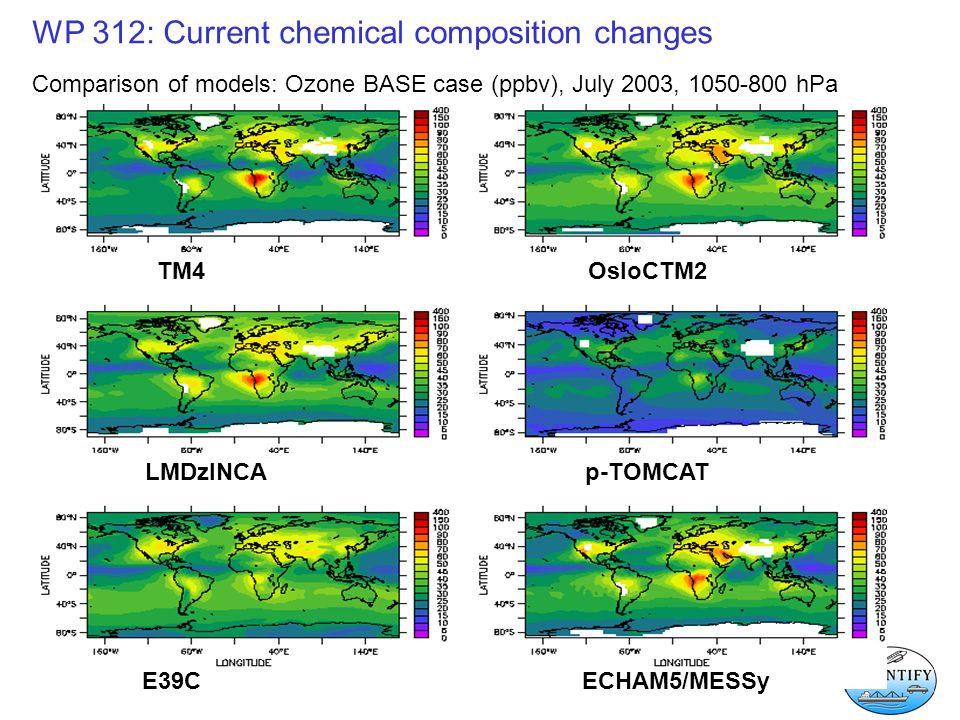 WP 312: Current chemical composition changes Comparison of models: Ozone BASE case (ppbv), July 2003, 1050-800 hPa TM4 OsloCTM2 LMDzINCAp-TOMCAT E39C