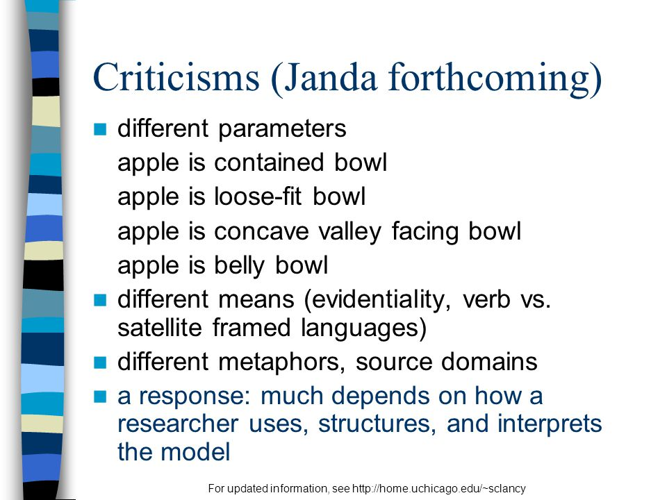 For updated information, see http://home.uchicago.edu/~sclancy Criticisms (Janda forthcoming) different parameters apple is contained bowl apple is loose-fit bowl apple is concave valley facing bowl apple is belly bowl different means (evidentiality, verb vs.