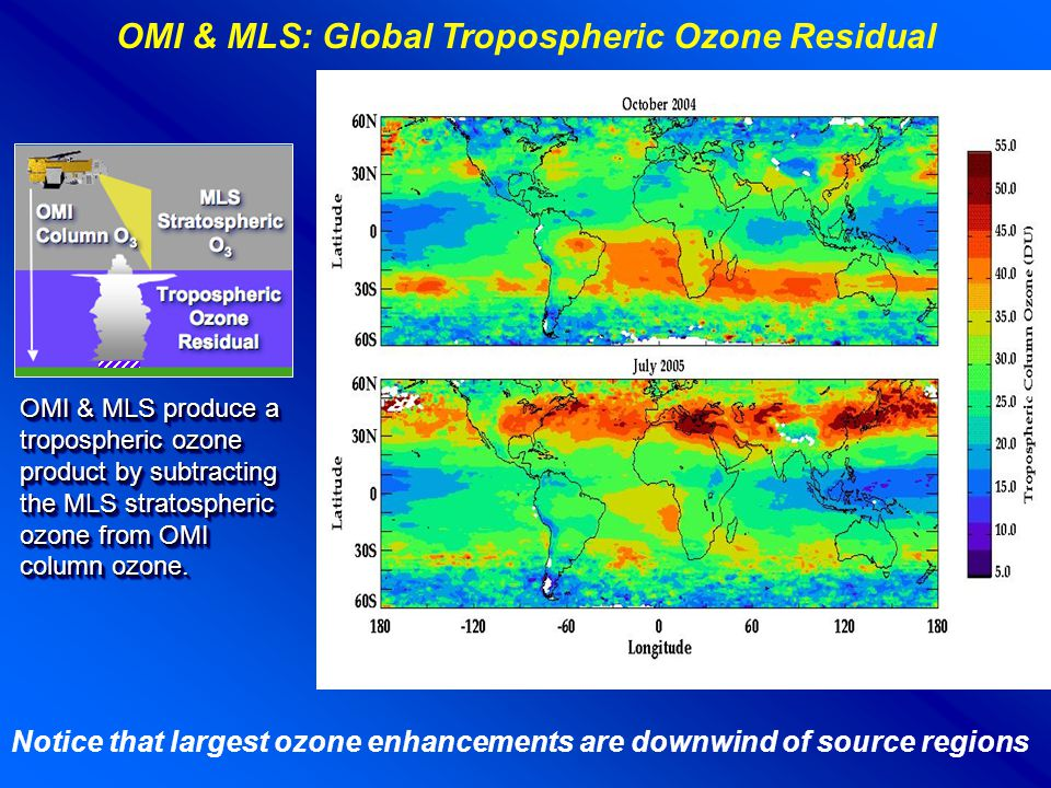 OMI & MLS produce a tropospheric ozone product by subtracting the MLS stratospheric ozone from OMI column ozone. OMI & MLS: Global Tropospheric Ozone