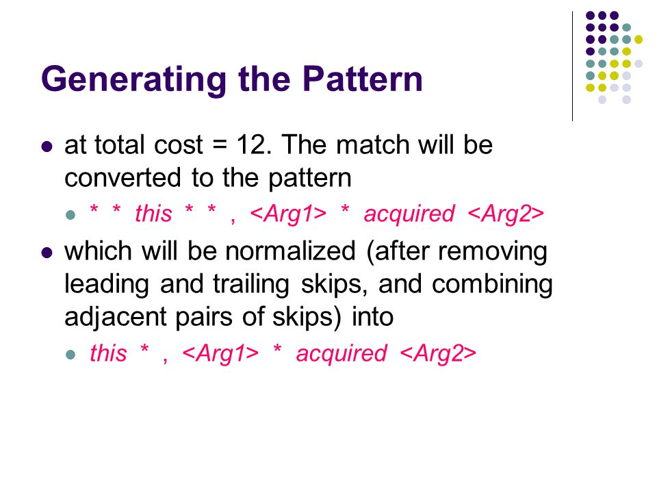 Generating the Pattern at total cost = 12. The match will be converted to the pattern * * this * *, * acquired which will be normalized (after removin