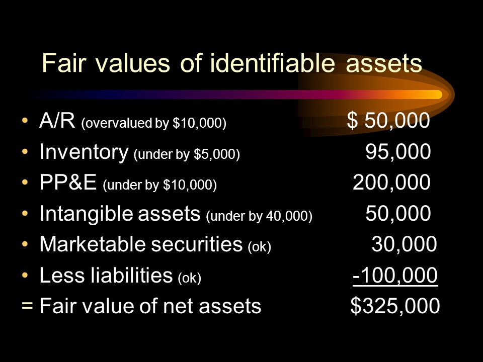 At what amount, if any, should goodwill be recorded? Steps to work the problem:  Estimate fair value of the identifiable assets  Compare fair value