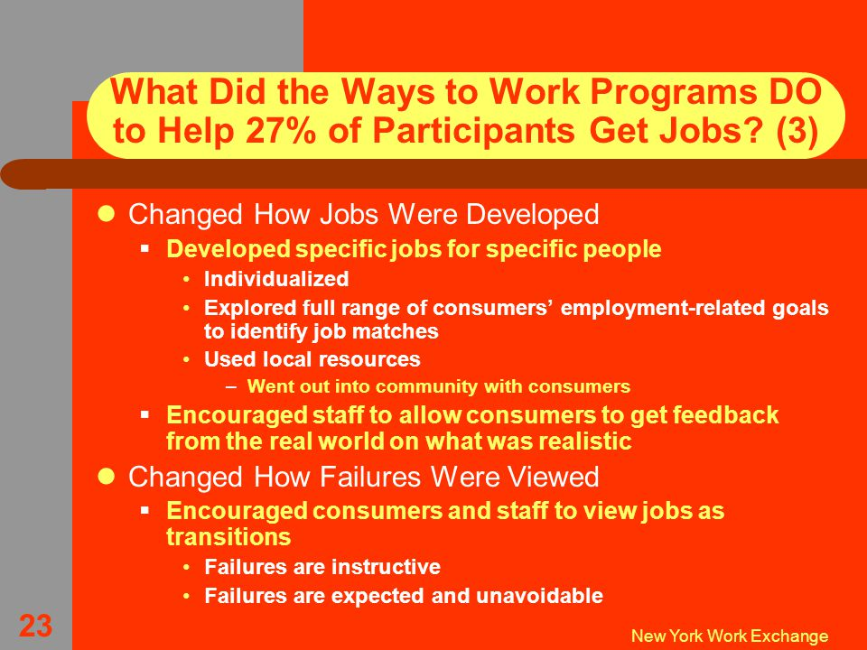 New York Work Exchange 23 What Did the Ways to Work Programs DO to Help 27% of Participants Get Jobs.
