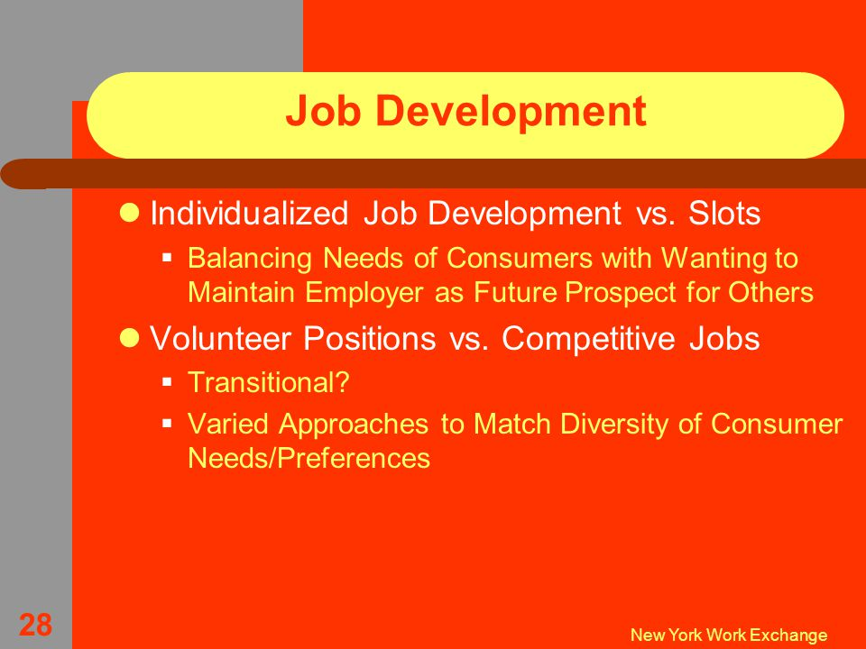 New York Work Exchange 28 Job Development Individualized Job Development vs.