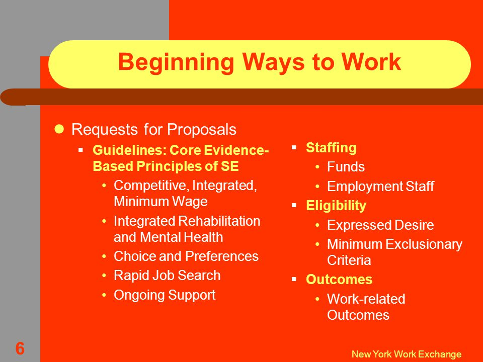 New York Work Exchange 6 Beginning Ways to Work Requests for Proposals  Guidelines: Core Evidence- Based Principles of SE Competitive, Integrated, Minimum Wage Integrated Rehabilitation and Mental Health Choice and Preferences Rapid Job Search Ongoing Support  Staffing Funds Employment Staff  Eligibility Expressed Desire Minimum Exclusionary Criteria  Outcomes Work-related Outcomes