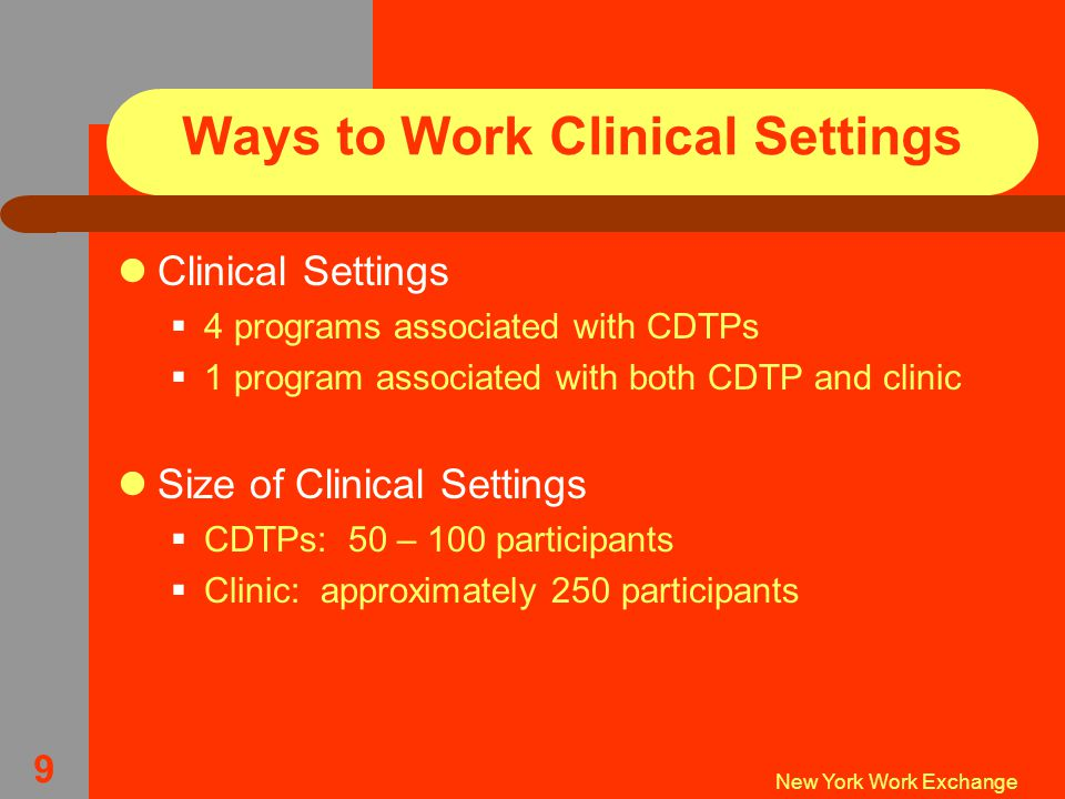 New York Work Exchange 9 Ways to Work Clinical Settings Clinical Settings  4 programs associated with CDTPs  1 program associated with both CDTP and clinic Size of Clinical Settings  CDTPs: 50 – 100 participants  Clinic: approximately 250 participants
