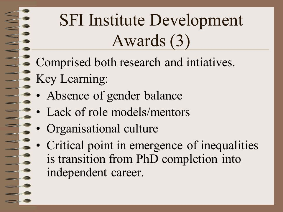SFI Institute Development Awards (3) Comprised both research and intiatives.