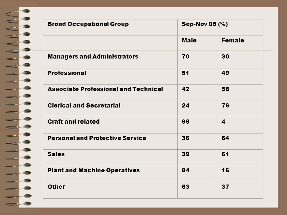 Factors Shaping Segregation at Level of the Workplace Organisational culture Exclusion of women from male networks Lack of transparency in promotions process Less training, information and discretion Higher levels of stress Balancing work and family life and poor adherence to family friendly policies.