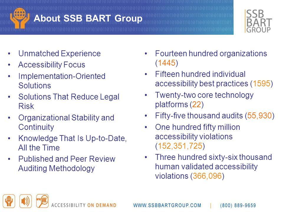 About SSB BART Group Unmatched Experience Accessibility Focus Implementation-Oriented Solutions Solutions That Reduce Legal Risk Organizational Stabil