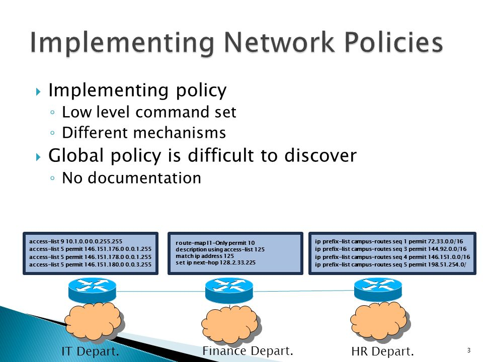  Implementing policy ◦ Low level command set ◦ Different mechanisms  Global policy is difficult to discover ◦ No documentation access-list 9 10.1.0.0 0.0.255.255 access-list 5 permit 146.151.176.0 0.0.1.255 access-list 5 permit 146.151.178.0 0.0.1.255 access-list 5 permit 146.151.180.0 0.0.3.255 route-map I1-Only permit 10 description using access-list 125 match ip address 125 set ip next-hop 128.2.33.225 ip prefix-list campus-routes seq 1 permit 72.33.0.0/16 ip prefix-list campus-routes seq 3 permit 144.92.0.0/16 ip prefix-list campus-routes seq 4 permit 146.151.0.0/16 ip prefix-list campus-routes seq 5 permit 198.51.254.0/ HR Depart.IT Depart.