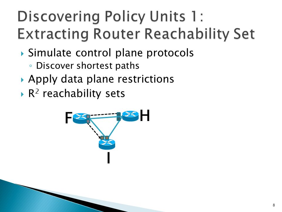  Decompose each RRS into several subnet reachability set ◦ Apply egress and ingress filters  S 2 reachability sets SH SF SI H F I 9