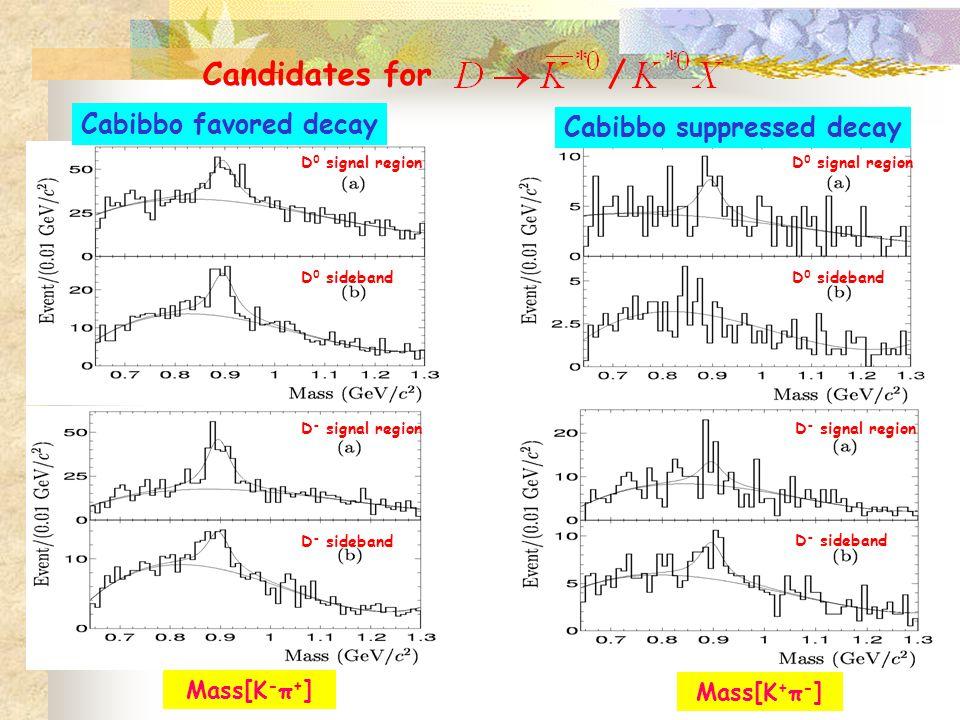 D 0 signal region Cabibbo favored decay Cabibbo suppressed decay Mass[K - π + ] Mass[K + π - ] D 0 sideband D - signal region D - sideband D - signal region D - sideband D 0 signal region D 0 sideband Candidates for