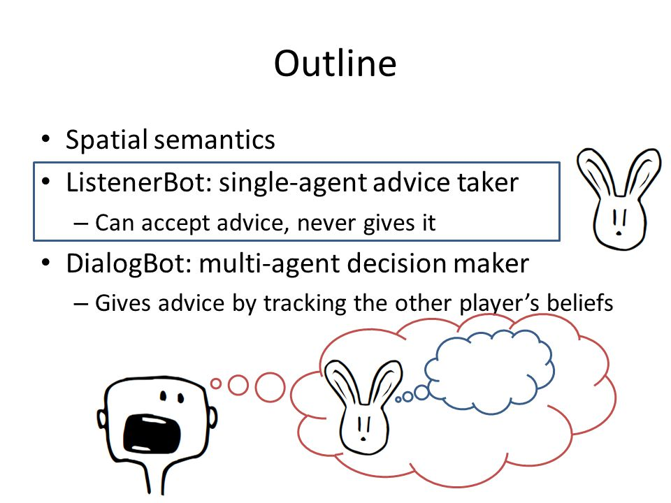 Spatial semantics ListenerBot: single-agent advice taker – Can accept advice, never gives it DialogBot: multi-agent decision maker – Gives advice by t
