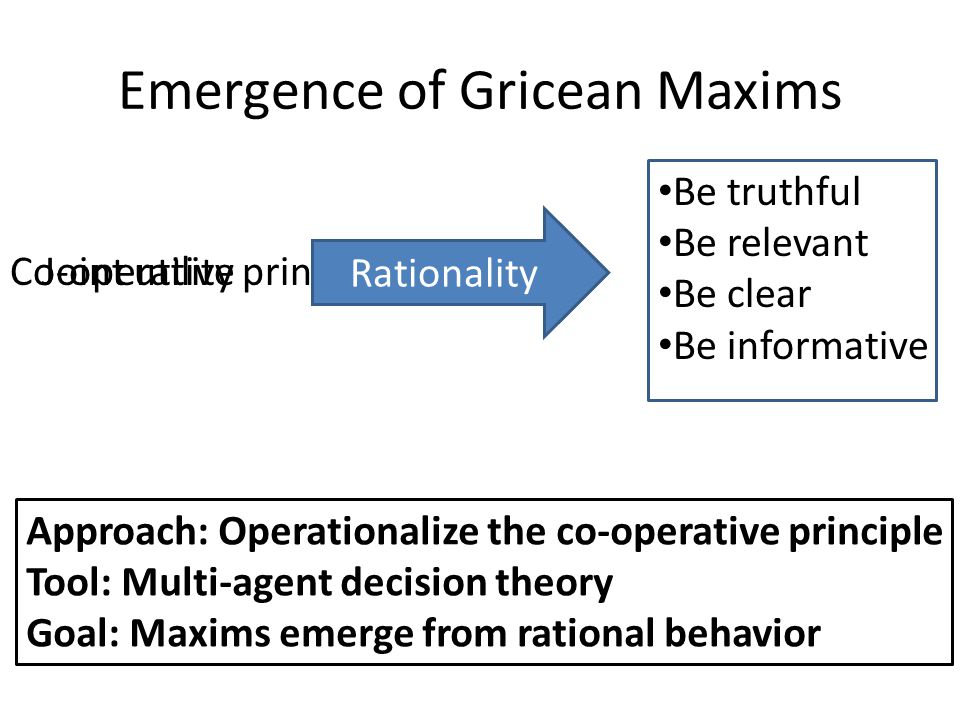 Emergence of Gricean Maxims Co-operative principle Be truthful Be relevant Be clear Be informative ??.