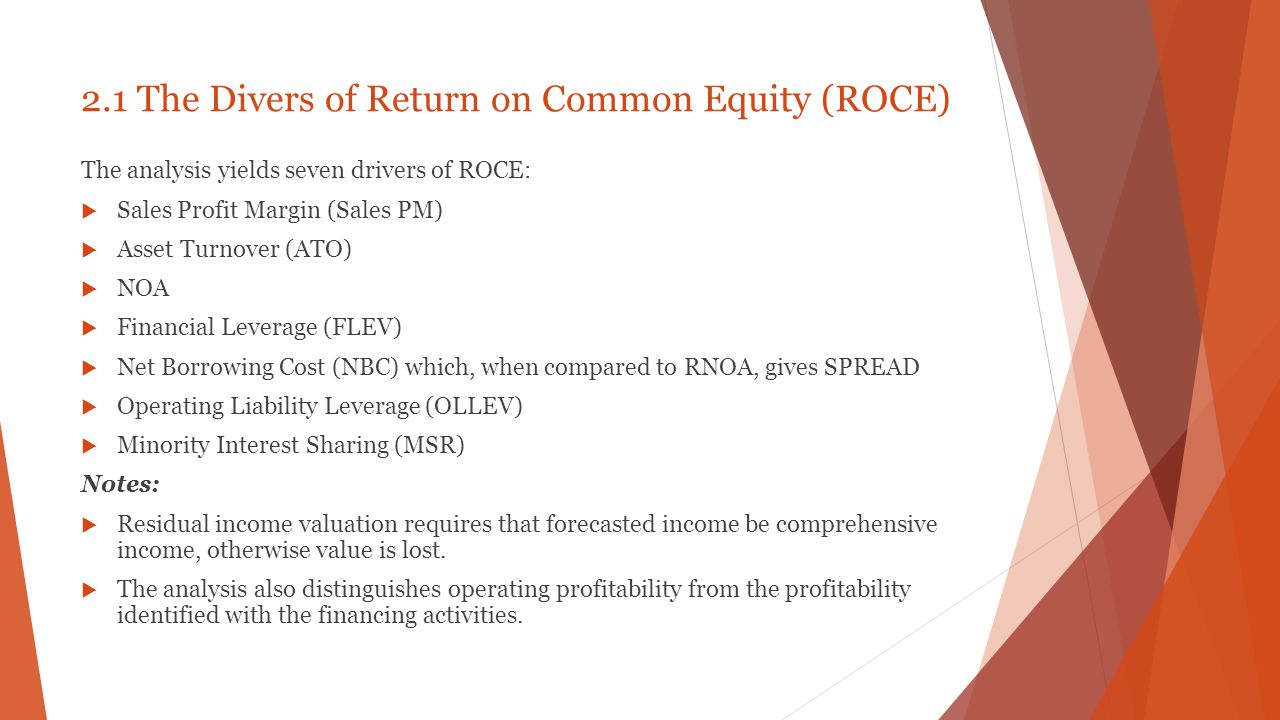 Conclusion  The analysis is guided by the residual earnings valuation model.