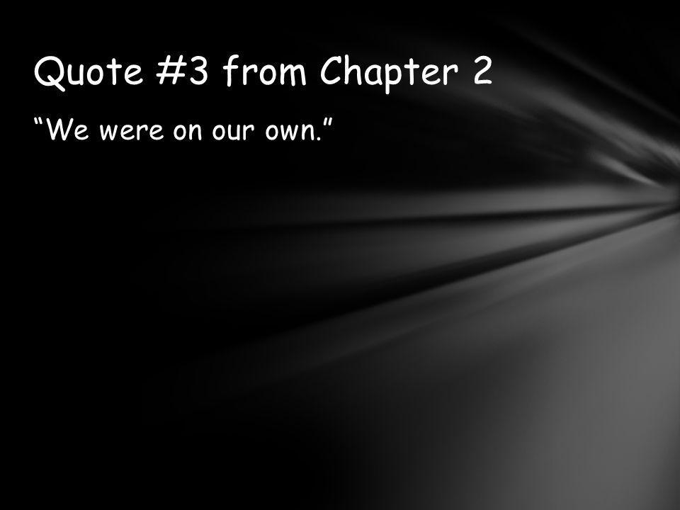 We were on our own. Quote #3 from Chapter 2