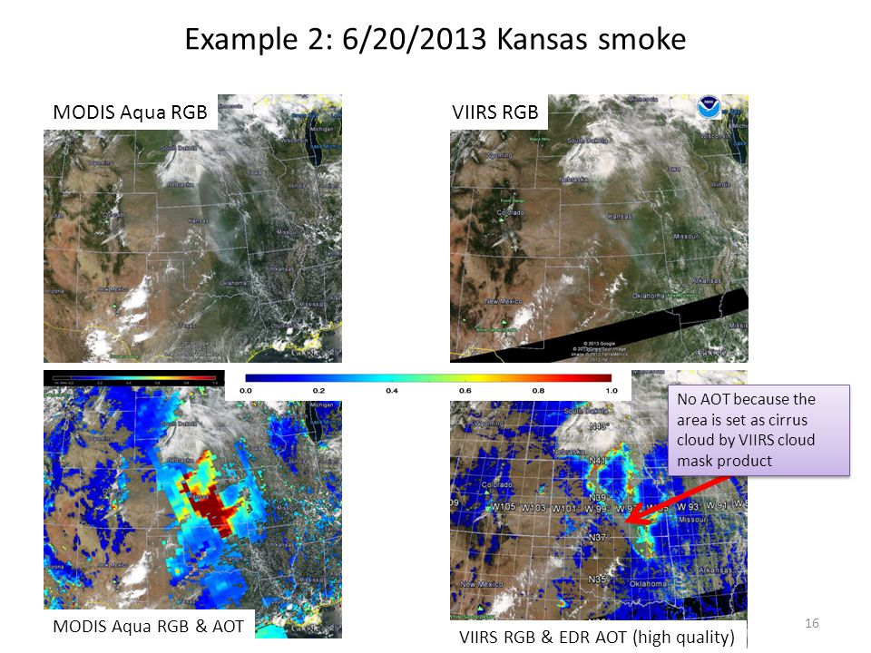 Example 2: 6/20/2013 Kansas smoke MODIS Aqua RGB MODIS Aqua RGB & AOT VIIRS RGB VIIRS RGB & EDR AOT (high quality) No AOT because the area is set as cirrus cloud by VIIRS cloud mask product 16