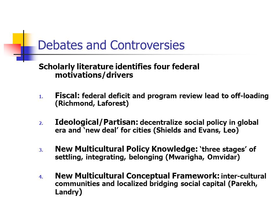 Debates and Controversies Scholarly literature identifies four federal motivations/drivers 1.