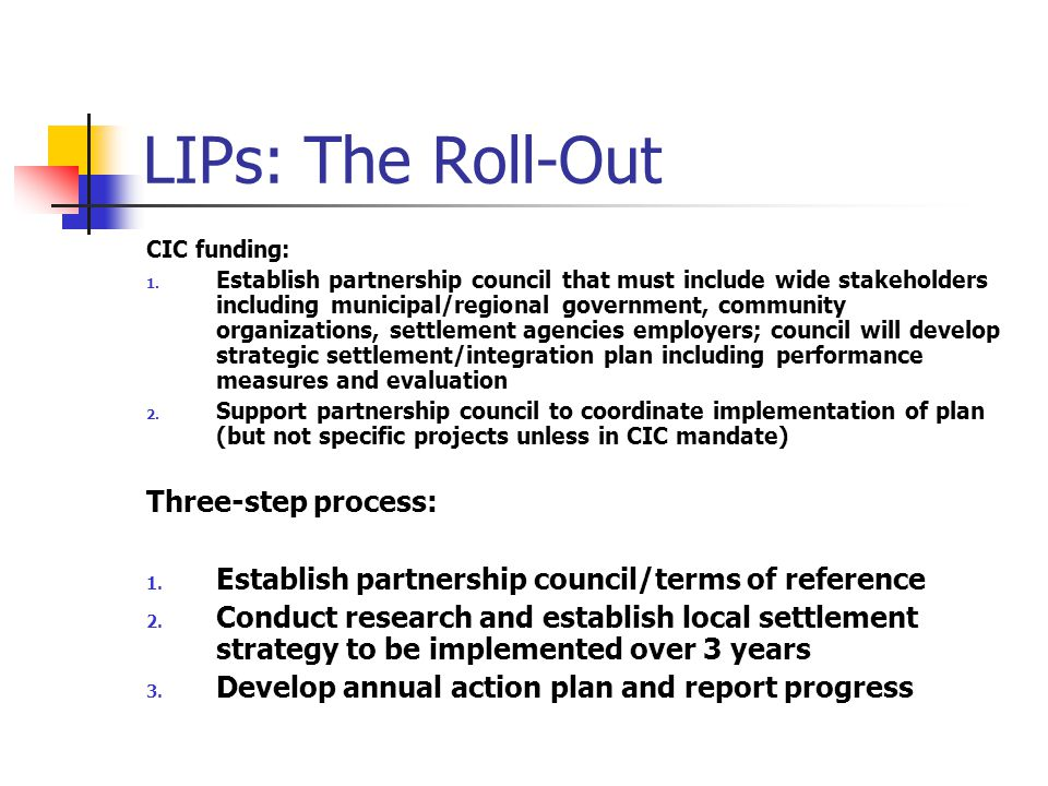 LIPs: The Roll-Out CIC funding: 1.