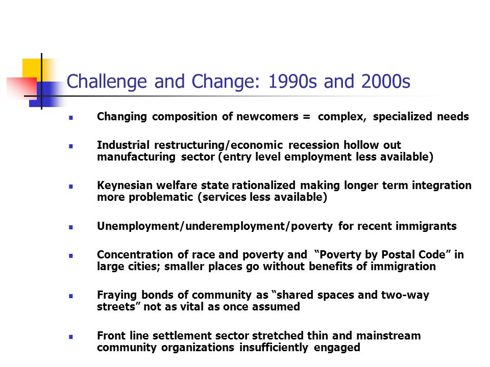 Challenge and Change: 1990s and 2000s Changing composition of newcomers = complex, specialized needs Industrial restructuring/economic recession hollo