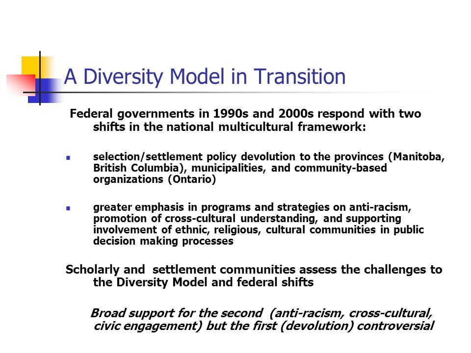 A Diversity Model in Transition Federal governments in 1990s and 2000s respond with two shifts in the national multicultural framework: selection/settlement policy devolution to the provinces (Manitoba, British Columbia), municipalities, and community-based organizations (Ontario) greater emphasis in programs and strategies on anti-racism, promotion of cross-cultural understanding, and supporting involvement of ethnic, religious, cultural communities in public decision making processes Scholarly and settlement communities assess the challenges to the Diversity Model and federal shifts Broad support for the second (anti-racism, cross-cultural, civic engagement) but the first (devolution) controversial