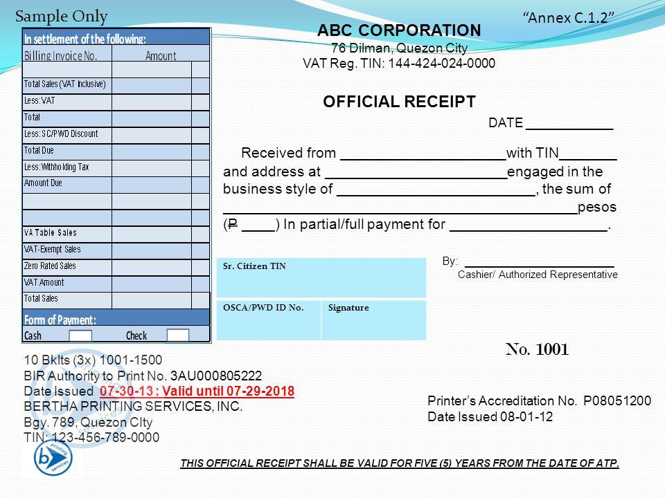 ABC CORPORATION 76 Dilman, Quezon City VAT Reg.