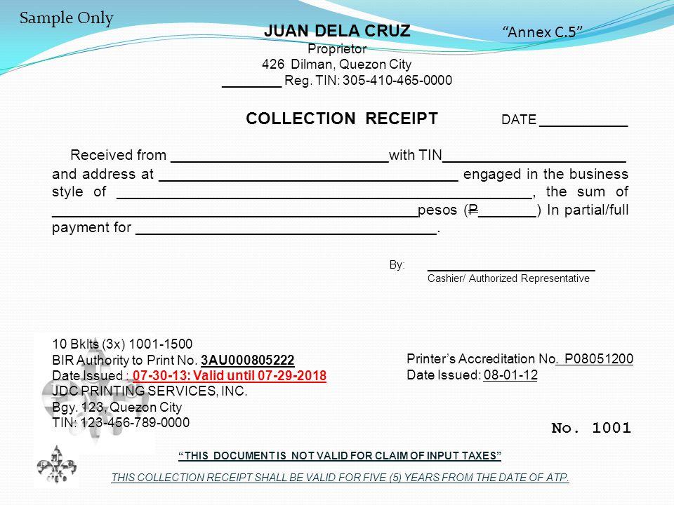 JUAN DELA CRUZ Proprietor 426 Dilman, Quezon City ________ Reg.