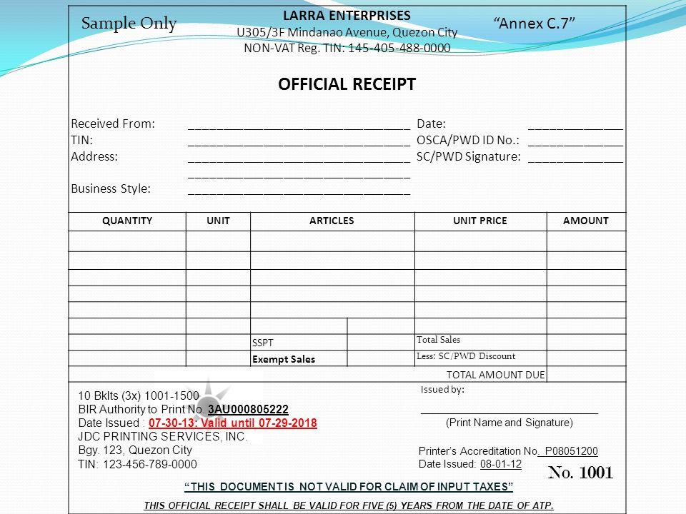LARRA ENTERPRISES U305/3F Mindanao Avenue, Quezon City NON-VAT Reg.