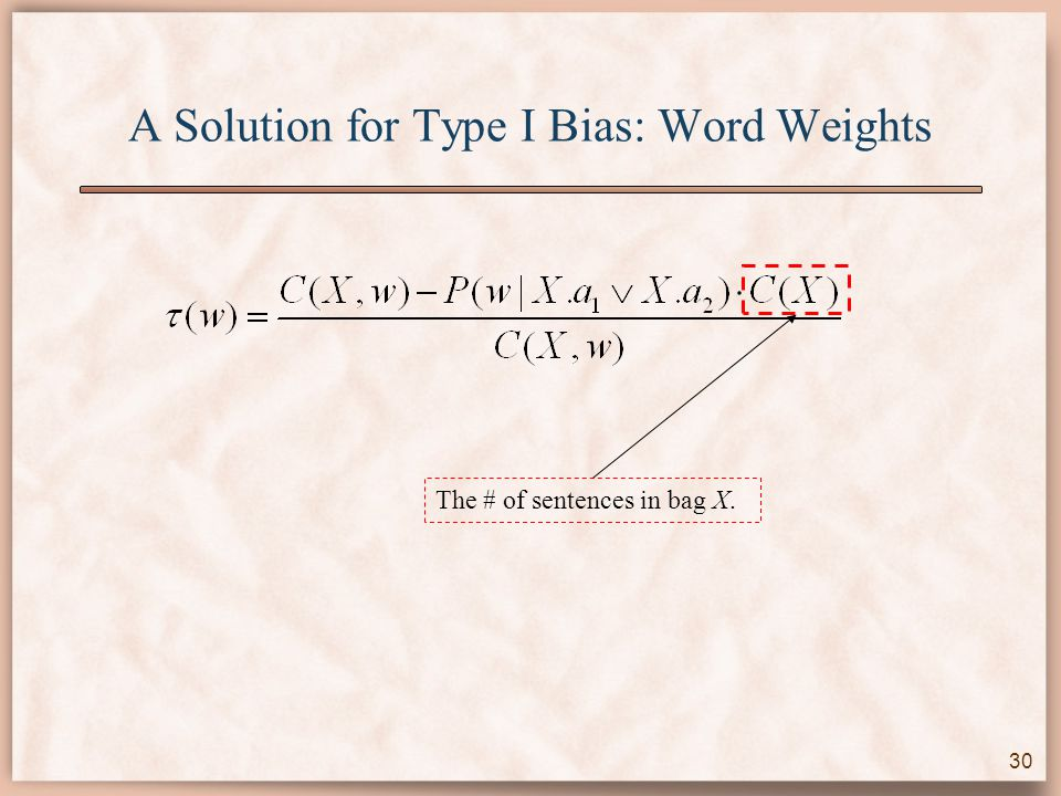 A Solution for Type I Bias: Word Weights The # of sentences in bag X. 30