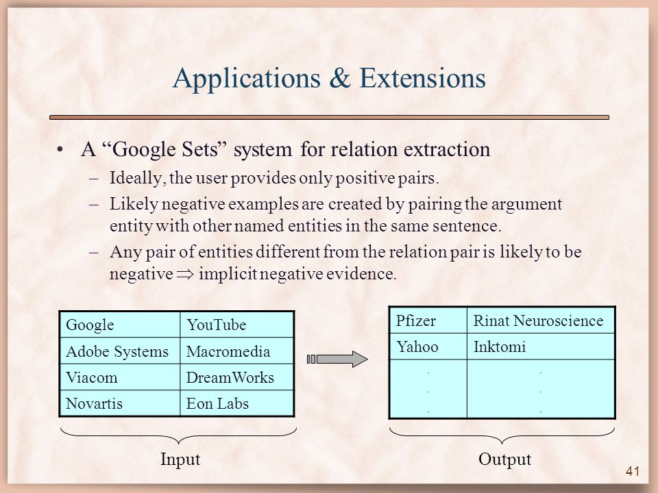 Applications & Extensions A Google Sets system for relation extraction –Ideally, the user provides only positive pairs.