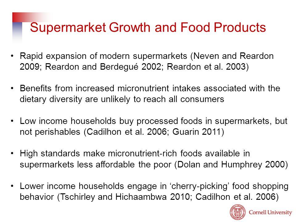 Rapid expansion of modern supermarkets (Neven and Reardon 2009; Reardon and Berdegué 2002; Reardon et al. 2003) Benefits from increased micronutrient