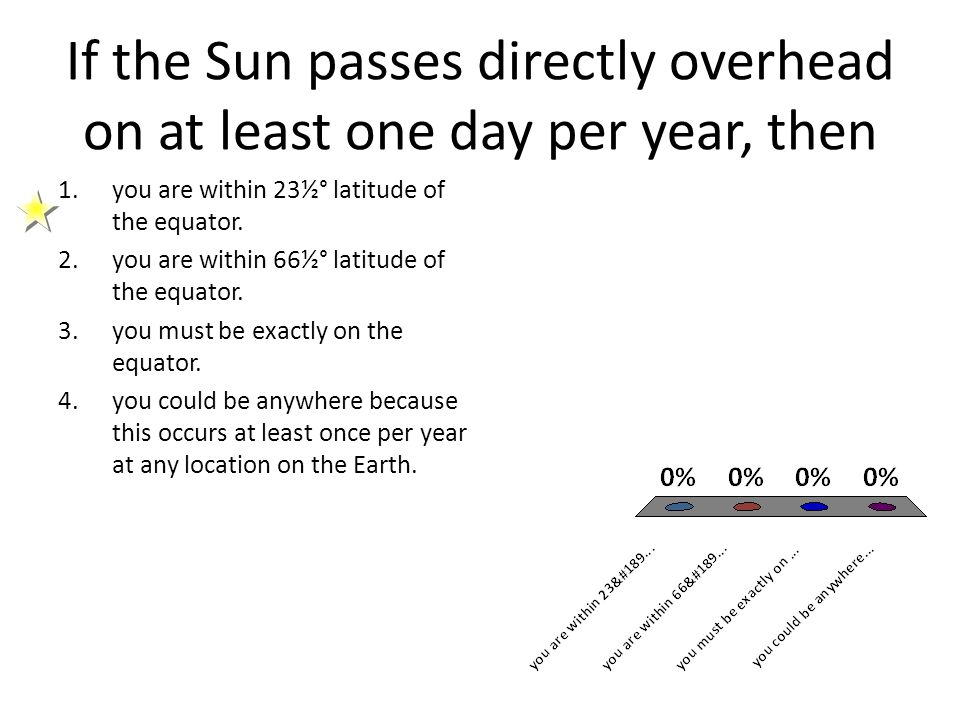 If the Sun passes directly overhead on at least one day per year, then 1.you are within 23½° latitude of the equator. 2.you are within 66½° latitude o
