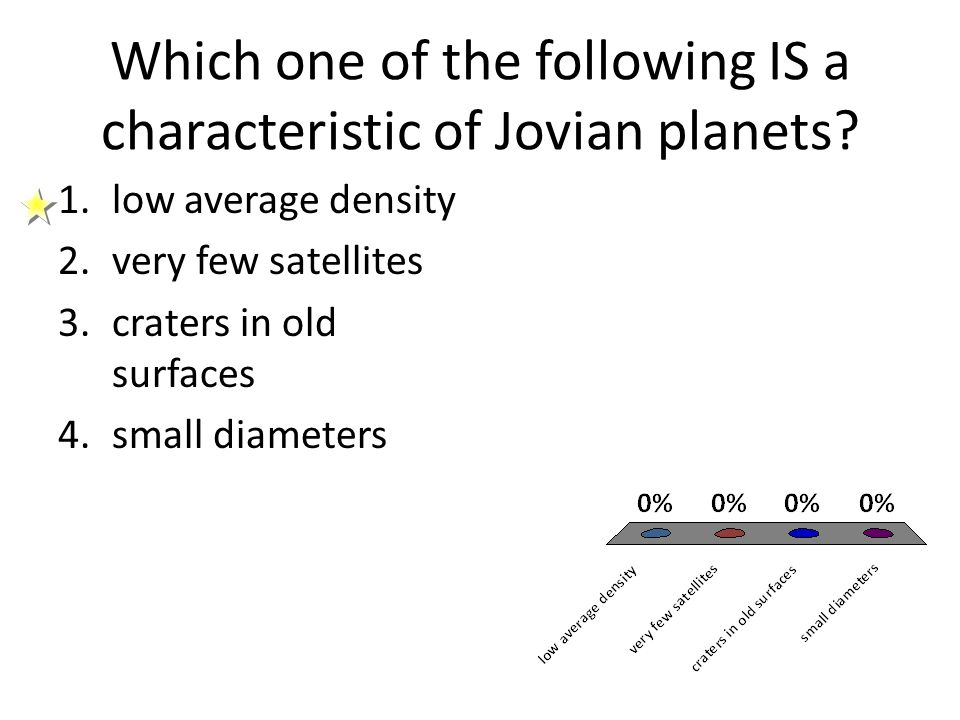 Which one of the following IS a characteristic of Jovian planets? 1.low average density 2.very few satellites 3.craters in old surfaces 4.small diamet