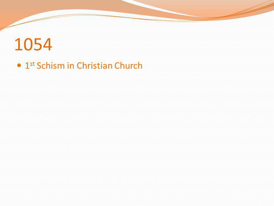 1054 1 st Schism in Christian Church