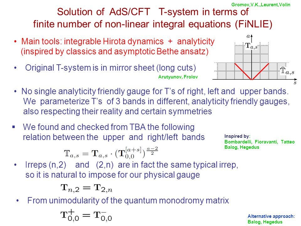 Solution of AdS/CFT T-system in terms of finite number of non-linear integral equations (FiNLIE) No single analyticity friendly gauge for T's of right, left and upper bands.