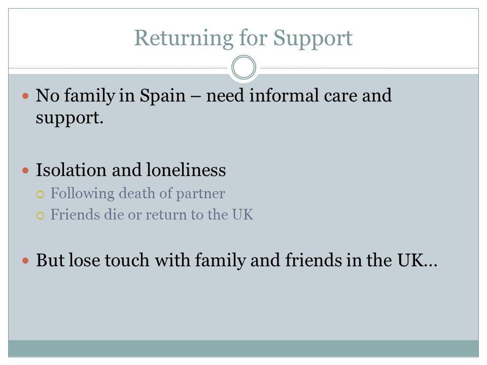 Returning for Support No family in Spain – need informal care and support.
