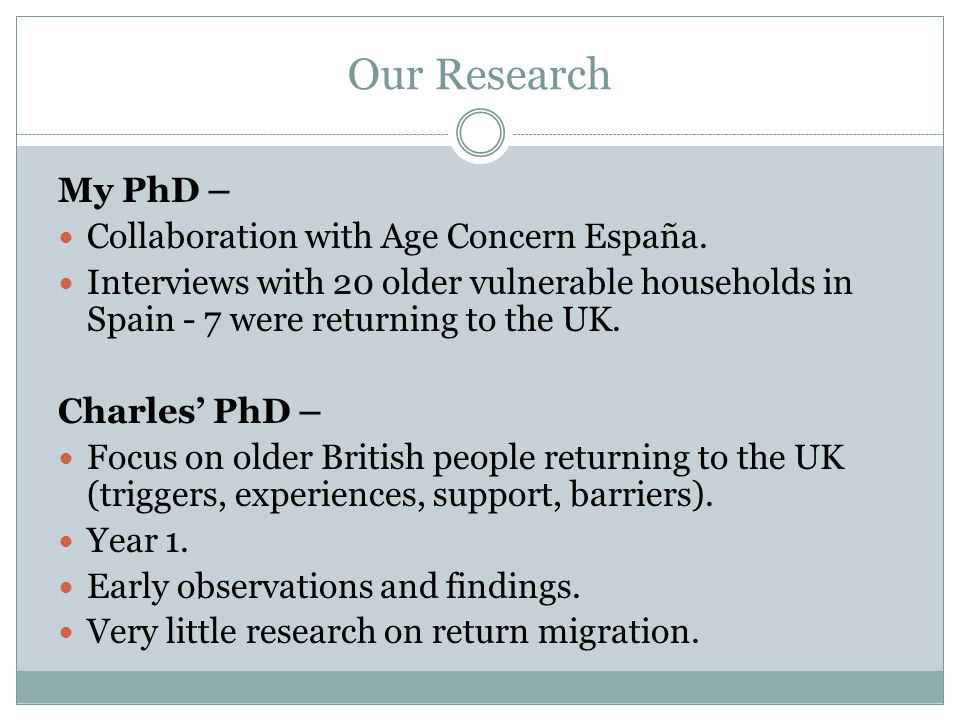 Our Research My PhD – Collaboration with Age Concern España.
