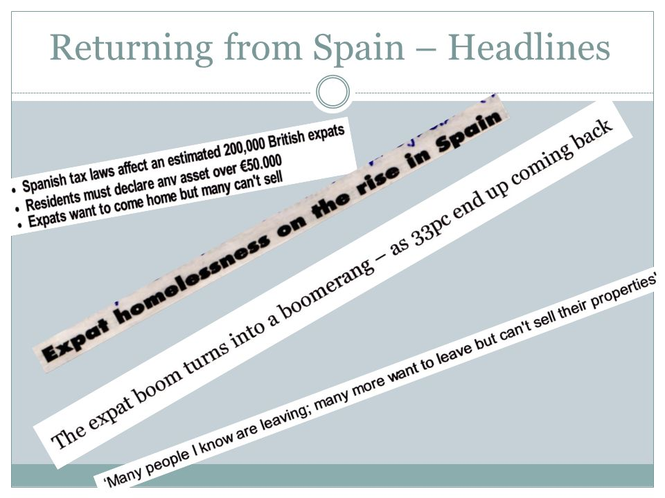 Returning from Spain – Headlines