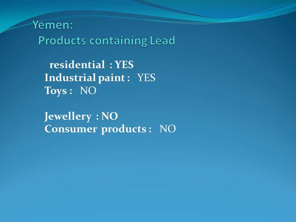 residential : YES Industrial paint : YES Toys : NO Jewellery : NO Consumer products : NO