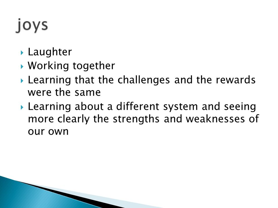  Laughter  Working together  Learning that the challenges and the rewards were the same  Learning about a different system and seeing more clearly the strengths and weaknesses of our own