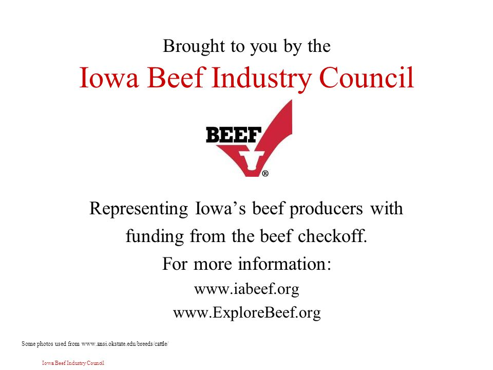 Iowa Beef Industry Council Brought to you by the Iowa Beef Industry Council Representing Iowa's beef producers with funding from the beef checkoff.
