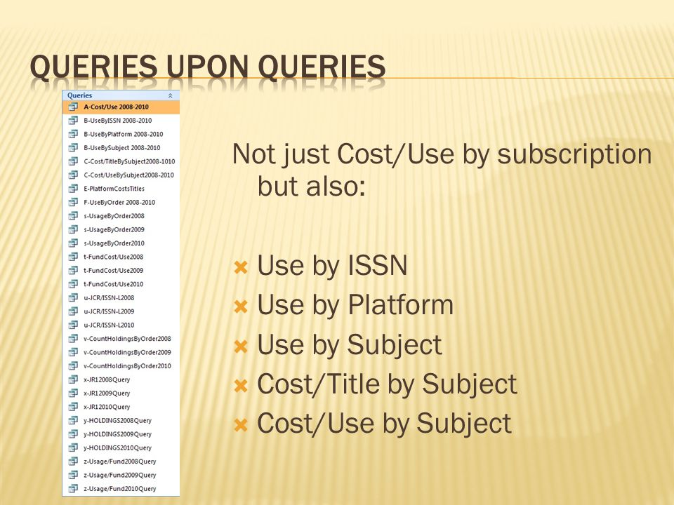 Not just Cost/Use by subscription but also:  Use by ISSN  Use by Platform  Use by Subject  Cost/Title by Subject  Cost/Use by Subject