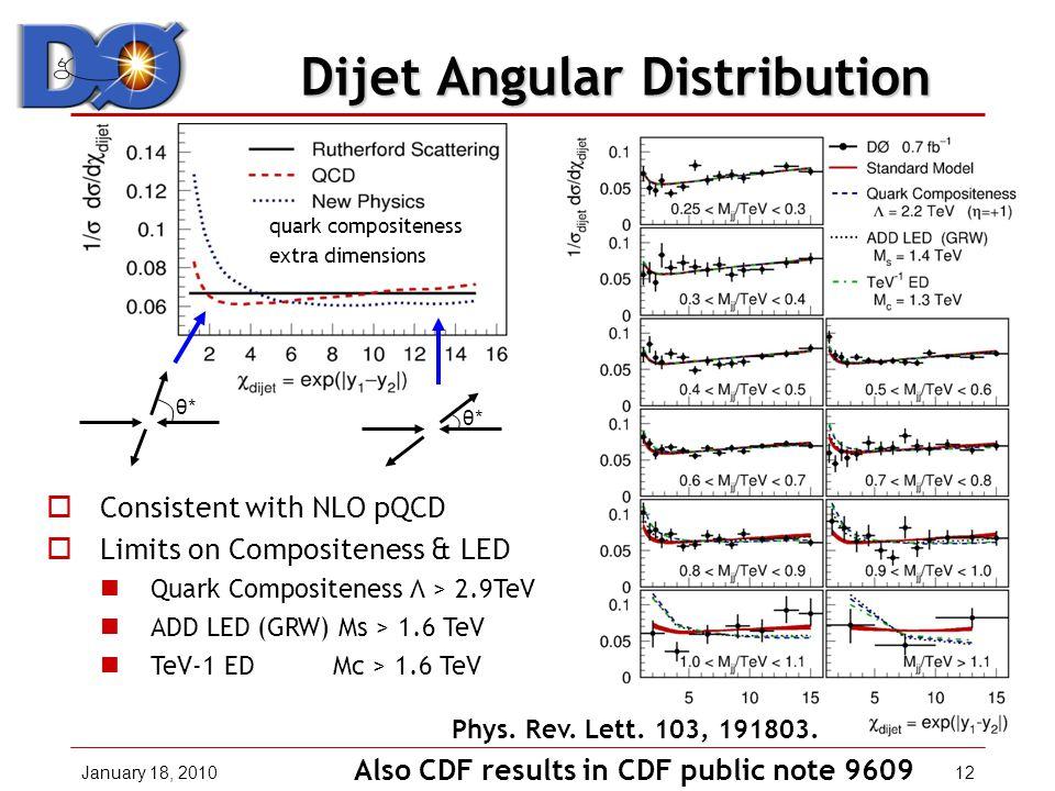 January 18, 201012 Dijet Angular Distribution Dijet Angular Distribution  Consistent with NLO pQCD  Limits on Compositeness & LED Quark Compositeness Λ > 2.9TeV ADD LED (GRW) Ms > 1.6 TeV TeV-1 ED Mc > 1.6 TeV Phys.