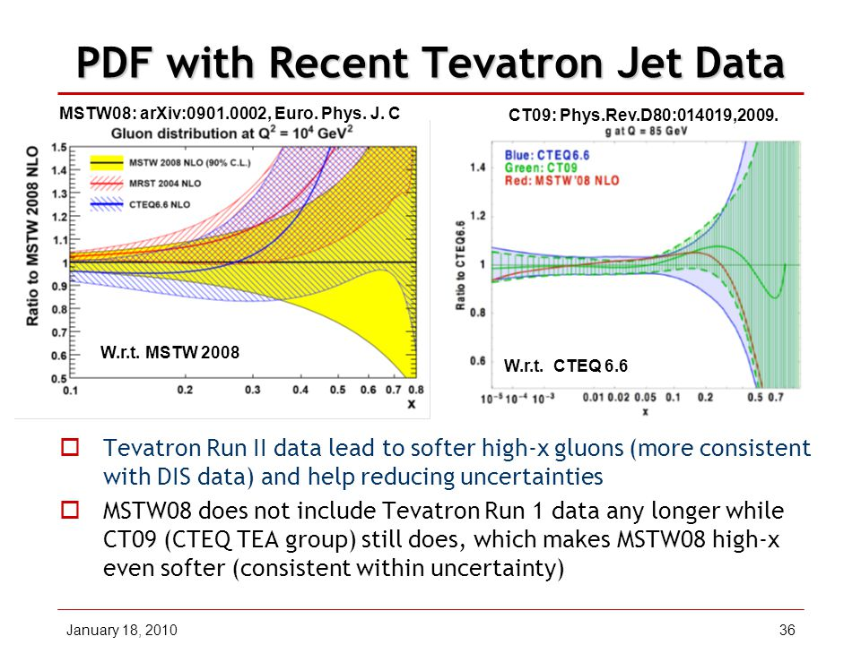 January 18, 201036 PDF with Recent Tevatron Jet Data  Tevatron Run II data lead to softer high-x gluons (more consistent with DIS data) and help reducing uncertainties  MSTW08 does not include Tevatron Run 1 data any longer while CT09 (CTEQ TEA group) still does, which makes MSTW08 high-x even softer (consistent within uncertainty) MSTW08: arXiv:0901.0002, Euro.