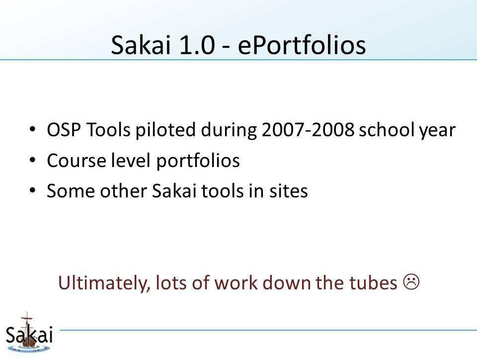 Sakai ePortfolios OSP Tools piloted during school year Course level portfolios Some other Sakai tools in sites Ultimately, lots of work down the tubes 