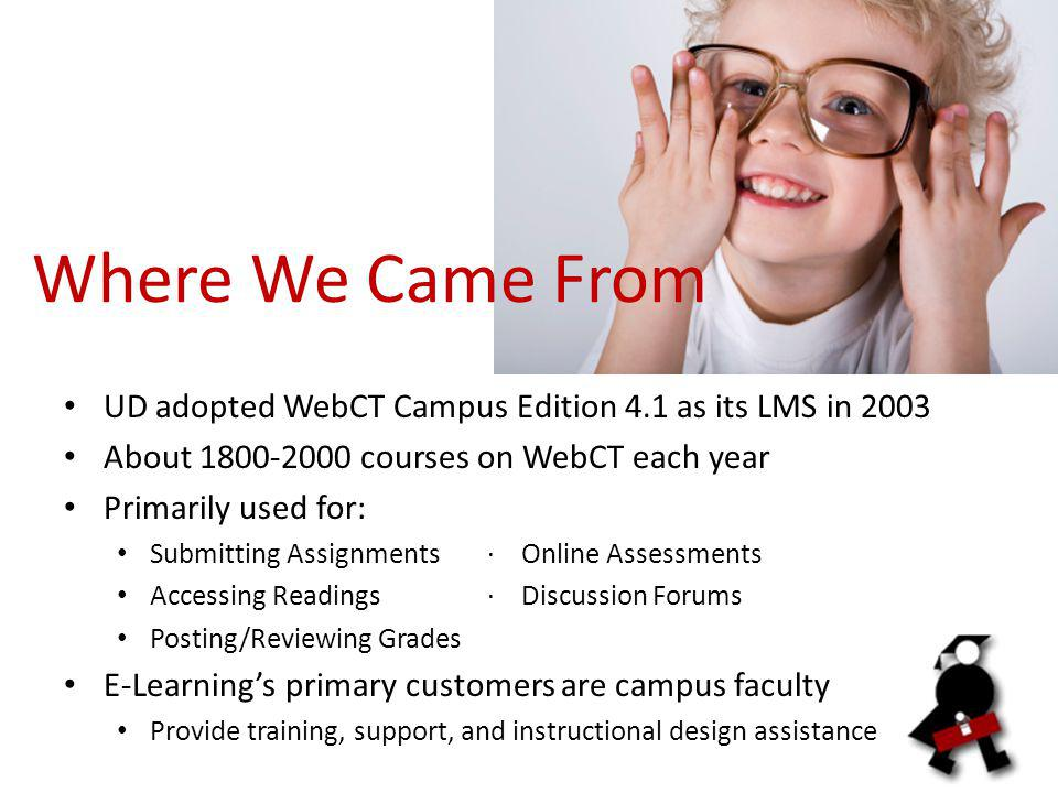 Where We Came From UD adopted WebCT Campus Edition 4.1 as its LMS in 2003 About courses on WebCT each year Primarily used for: Submitting Assignments· Online Assessments Accessing Readings· Discussion Forums Posting/Reviewing Grades E-Learning's primary customers are campus faculty Provide training, support, and instructional design assistance