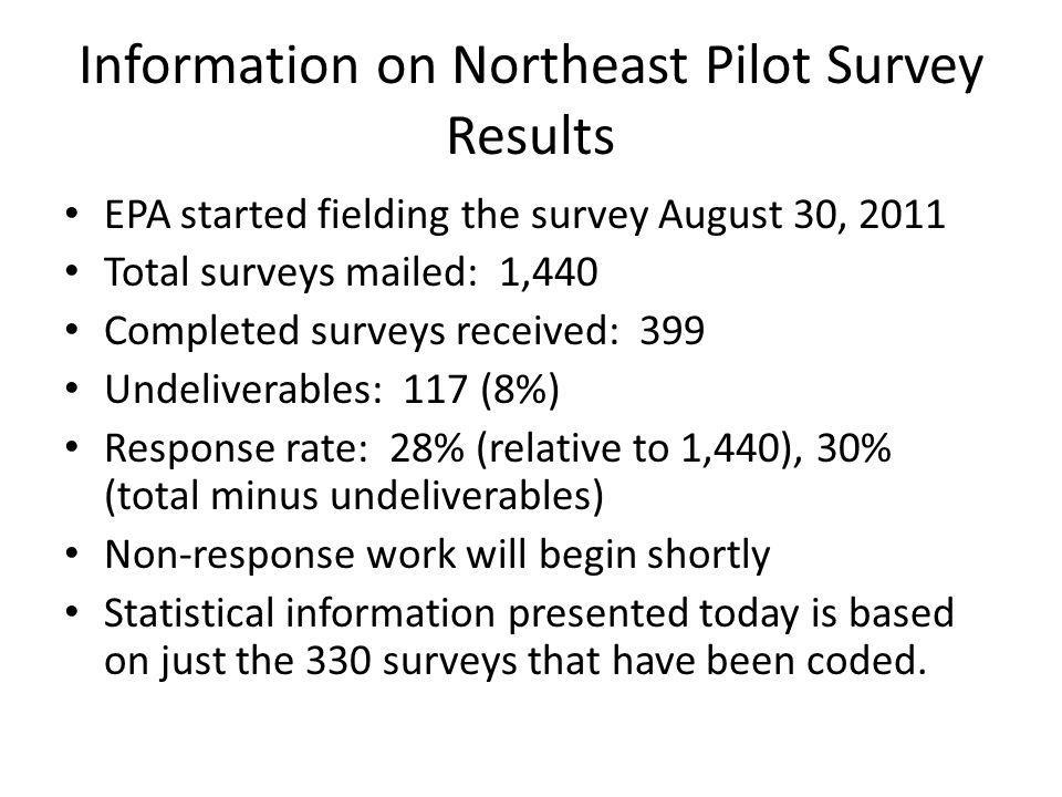 Information on Northeast Pilot Survey Results EPA started fielding the survey August 30, 2011 Total surveys mailed: 1,440 Completed surveys received: